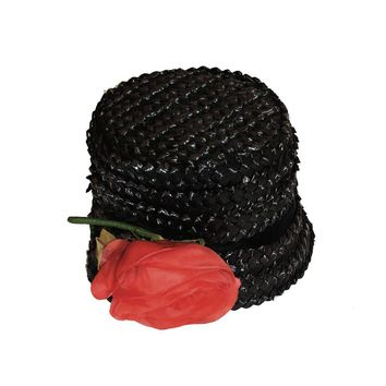 1960s Black Straw Bucket Hat, Large Silk Red Rose, Hat Size 21