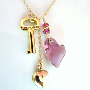 Louis Vuitton key to my heart antique pink Swarovski heart crystal necklace