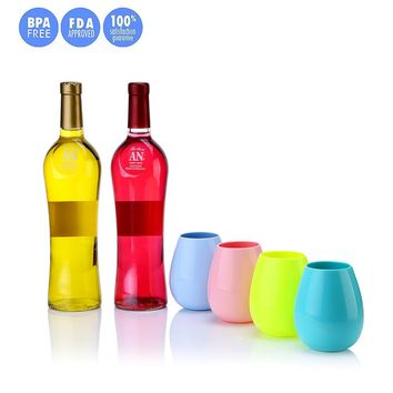 Silicone Wine Glasses Unbreakable Stemless Foldable Rubber Wine Cups Whole Set