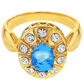 Gold Tone Oval Blue Clear Crystal Vintage Style Womens Rings