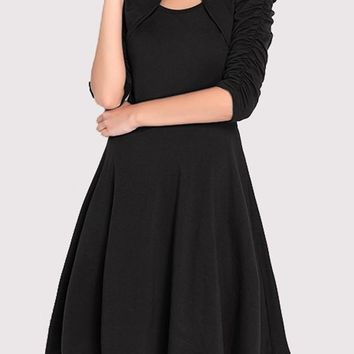 Black Pleated Draped Round Neck 3/4 Sleeve Elegant Party Midi Dress