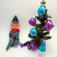 Vintage Elf on a Shelf - Green and Red Elf - Elf Prank Mischief - Blue Christmas cottage chic decoration (g2)
