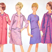 1960s Simplicity Coat, Jacket, Skirt and Blouse Pattern 6748 Size 18 1/2