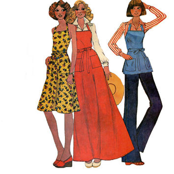 70s Butcher Apron or Halter Wrap Maxi Dress McCalls Sample Pattern 3 Lengths All Sizes UNCUT Women's Vintage Sewing Patterns Bust 30.5 to 42