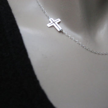 "Silver Sideways Cross Necklace, Side Cross Necklace, Tiny Cross 14k Gold Fill or 925 Sterling Silver , Layering Necklace, ""Patmos"" Necklace"
