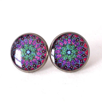 Trippy Boho Hippy Stud Earrings Mandala Bohemeiam Yoga Jewelry Colorful Floral