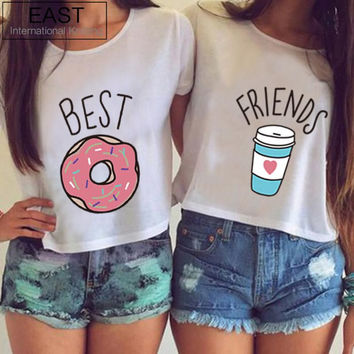 """Full Cotton T-Shirt Choice of 2 Varieties """"Best"""" & """"Friends""""  with Donut And Coffee"""