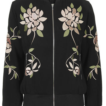 Floral Embroidered Bomber Jacket - Topshop