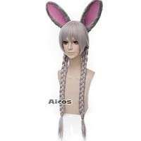 Probeauty Cosplay Wigs Long Straight Braid Hair Wig for Zootopia Judy Rabbit+Ear
