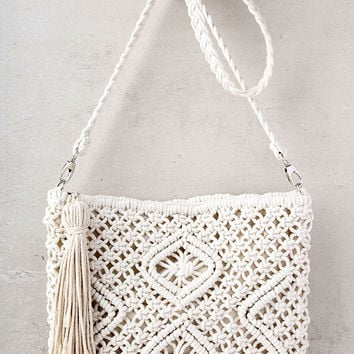 Kaia Cream Crocheted Crossbody Purse
