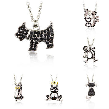 Black Crystal Rhinestone Pendnat Silver Color Chain Dog Penguin Frog Cat Monkey Panda Necklace Men Women Cute Animal Jewelry