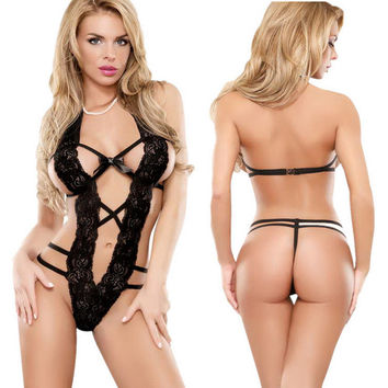 Cute On Sale Hot Deal Black Lace See Through Sexy Exotic Lingerie [6595563011]