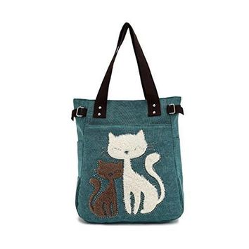 Women Canvas Handbag Cute Cat Shoulder Bag Totes Color Green
