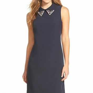 Women's Eliza J Embellished Collar Crepe Shift Dress,