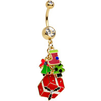 Gold Plated Stainless Steel Clear Joy of Christmas Dangle Belly Ring