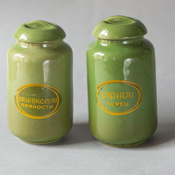 Ceramic tea container spices coffee pottery vintage green, Pottery Craft minimalist set 2, Medium jar with lid Canister set ceramic kitchen