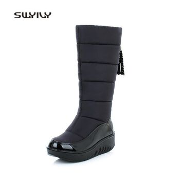 SWYIVY Women Slimming Shoes Waterproof Thicken Plus Velvet High Boots 2018 New Winter Platform Female Toning Swing Shoes