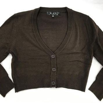 MAK V neck Cardigan Sweater Chocolate Brown