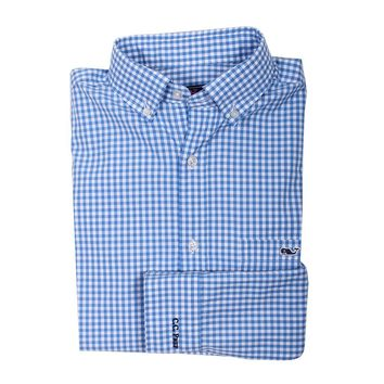 Custom Seafloor Gingham Classic Tucker Shirt in Hull Blue by Vineyard Vines