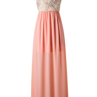 Subtle Sparkle One Shoulder Maxi Dress - Peach