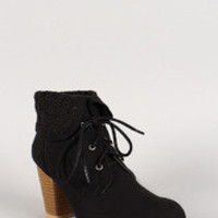 Qupid Faux Suede Lace Up Floral Overlay Bootie
