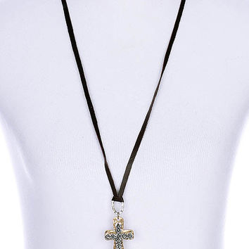 NECKLACE / HAMMERED METAL CROSS / MESSAGE PENDANT / AMAZING GRACE / AGED FINISH / TWO TONE / PEARL CHARM / FAUX LEATHER STRAND / 34 INCH LONG / 3 INCH DROP / NICKEL AND LEAD COMPLIANT