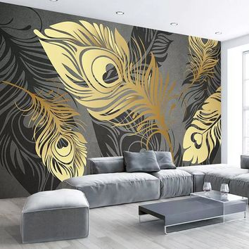 Custom Mural Wallpaper Murals Modern Fashion 3D Abstract Golden Feather Living Room Sofa TV Background Wall Paper Bedroom Decor
