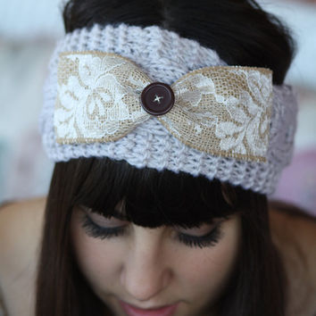 Headband - Large Bow, Knitted , Cable Knit , Gray ,infinity, Wood Button, Lace, Linen,Wide Headband, Turban, Christmas Gift