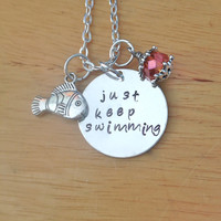 Just Keep Swimming Finding Nemo Dory Stamped Charm Necklace
