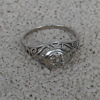 Art Deco 10K Filigree Diamond Ring, White Gold, Engagement Promise