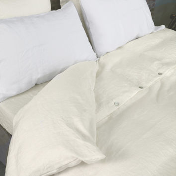 Shell Top Buttoned Linen Duvet Cover Chalk