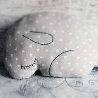 Bunny rabbit pillow stuffed toy nursery decor 9x12 inches primitive animal baby shower gift rustic grey white hearts