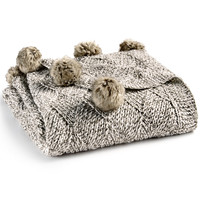 Martha Stewart Collection Basketweave Marled Faux-Fur Pom Pom Throw, Created for Macy's | macys.com