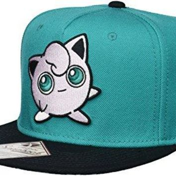 BIOWORLD Pokemon Jigglypuff Embroidered Snapback Cap Hat, Turquoise