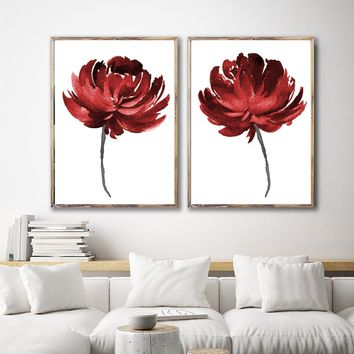 Red WATERCOLOR FLOWER Wall Art, Watercolor Floral Bedroom Wall Decor, RED Floral Minimalist Artwork Set of 2 Canvas or Prints Red Pictures