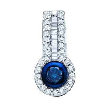 Blue Diamond Fashion Pendant in 10k White Gold 0.33 ctw