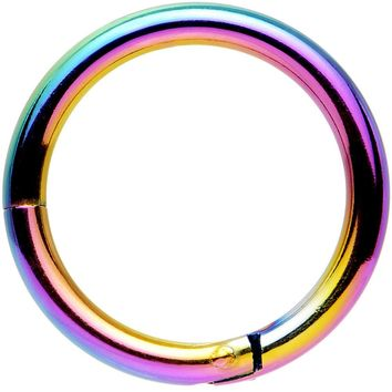 "14 Gauge 3/8"" Rainbow Anodized Hinged Segment Ring Circular Barbell"