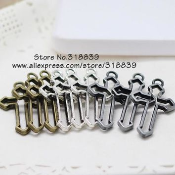 Three Colors Metal Zinc Alloy Religious Cross Pendant Charms for Jewelry Making Pendant Charms 30pcs/lot 22*38mm 7038