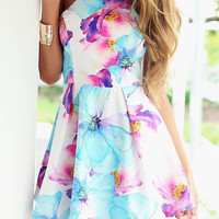 Floral Halter Mini Skater Dress