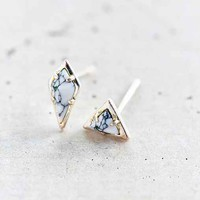 Luv Aj Marble Stud Earring Set- Silver One
