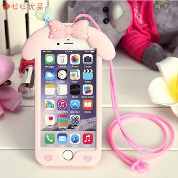 Full cover For iphone 4 4s 5s soft case Cute hello kitty cat back Case For iphone4 cartoon Melody for iphone5s + rope pink KT
