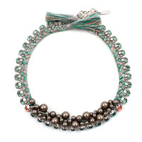 Self Centered Crystal & Braided Cotton Choker with Pearls - Emerald/ Ernite