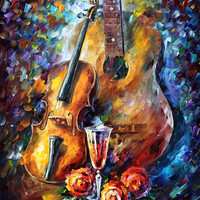"""Guitar and Violin — PALETTE KNIFE Oil Painting On Canvas By Leonid Afremov - Size : 20"""" x 24"""""""