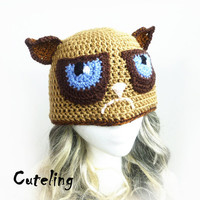 Mean Kitty Hat, Tard the Grumpy cat inspired crochet beanie, beige brown cat ears hat, animal hat, internet meme