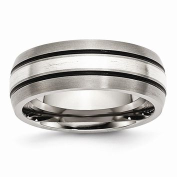 Men's Titanium Grooved Sterling Silver Inlay Brushed/Antiqued Wedding Band Ring