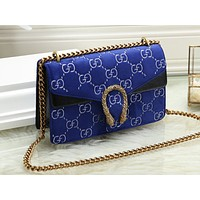 Gucci sells ladies'shopping bags full of colour bumps and one-shoulder bags Blue