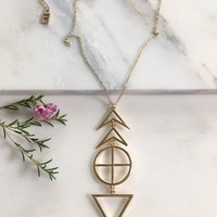 Tribal Signs Necklace - Gold