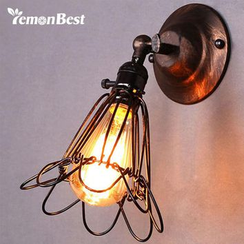 LemonBest E27 Vintage Wall Lamp Birdcage Small Wall Sconce Loft Metal Home Lighting Industrial Rustic Sconce Light 110-220V