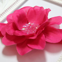 Hot Pink Flower Headband, Fold Over Elastic Headband, Newborn Headband, Baby Headband, Newborn Photo Prop, Flower Headband