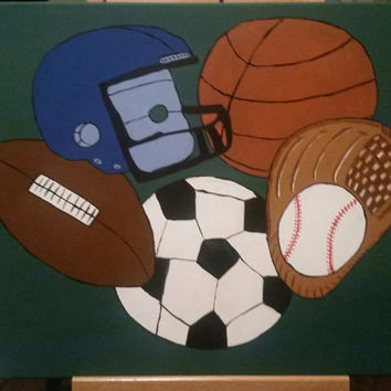 Hand painted wood framed canvas - custom order with all or certain sports and background color